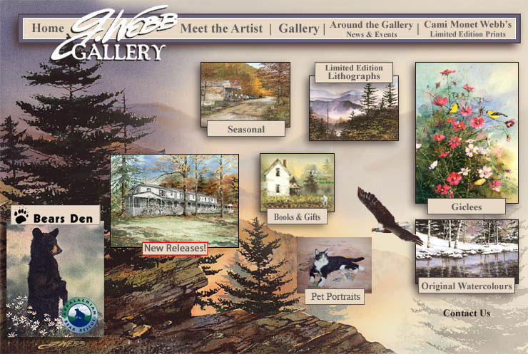 The Gallery building is over 80 years old and one of the first homesteads in the Gatlinburg, Glades area. 1910 homestead houses the G. Webb Gallery on Gatlinburg's Buckhorn Road. Throughout G Webb's web store, you will find prints ranging from animals and flowers to historical buildings; and then there are the books. Books that are dressed with impressions and color, illustrated as only G. can see them.  Artist G Webb Watercolor Painting Art Gallery Gatlinburg TN Smoky Mountains. Original Art, Art Prints, Framed Art by Nature Artist G Webb & Cami Webb.