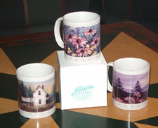 Ceramic Mugs printed with G. Webb watercolours are available in our studio.
